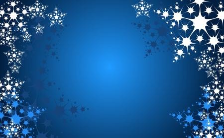 snow flakes: Kerstmis sneeuw vlok achtergrond in de blauwe kleur Stock Illustratie