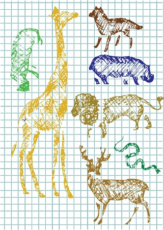 hand drawn zoo animlas in different colors Vector