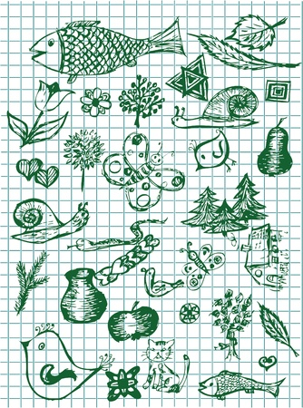 hand drawn nature symbols in green colors Stock Vector - 10102746