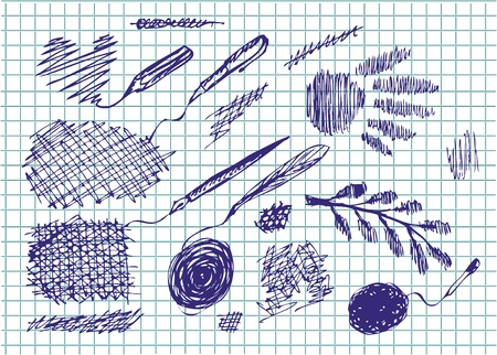hand drawn pen icons in the blue color Vector