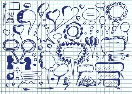 disegnato a mano icone di dialogo nei colori blu