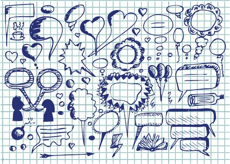 hand drawn dialog icons in blue colors Illustration