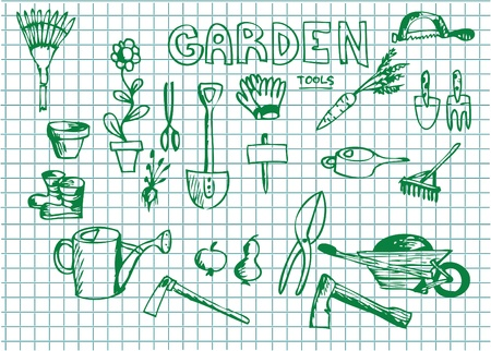 gardening tools: hand drawn garden illustrations in green color  Illustration