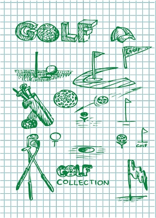hand drawn golf illustrations in green color  Stock Vector - 10102587