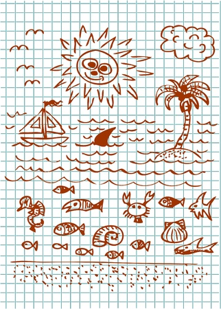 hand drawn summer collection in brown color Vector