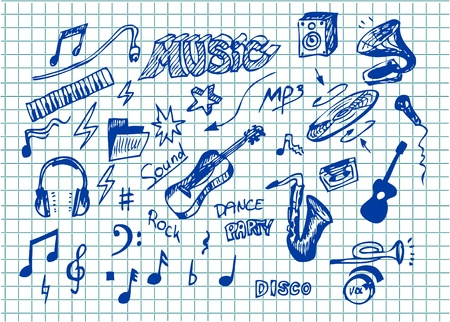 audio mixer: hand drawn music object isolated in blue color Illustration