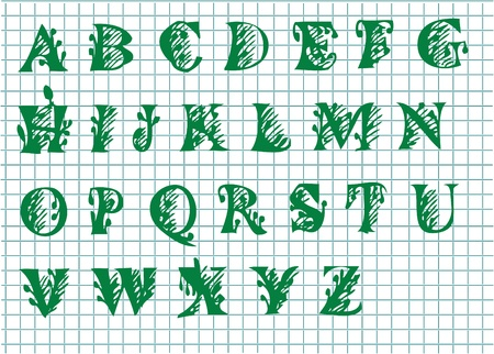 nice hand drawn alphabet in green color Vector