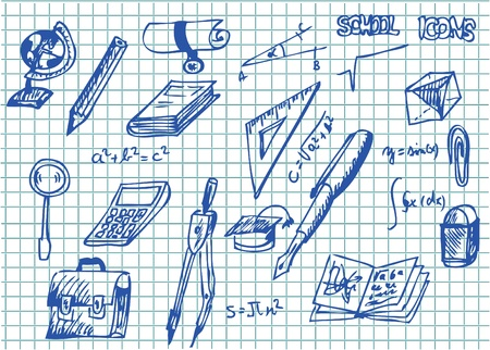hand drawn school accesories collection in blue color Vector