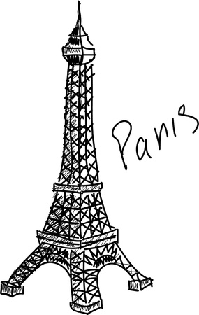 eifel tower isolated on the white background Vector
