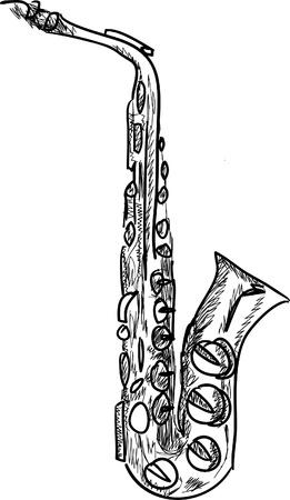 Saxophone en noir isolé sur fond blanc