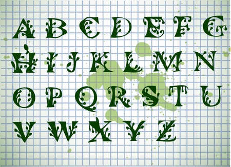 hand writen green alphabet isolated on the old background Vector