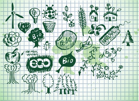 environmentalist label: green bio icons isolated on the old paper