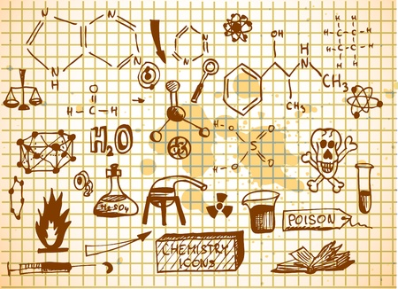 empty chemistry icons isolated on the old background Vector