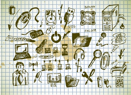 laptop repair: iconos de equipo dibujado a mano aislados en el papel viejo