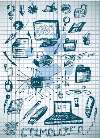 laptop repair: grandes iconos del ordenador aislado en el papel viejo Vectores