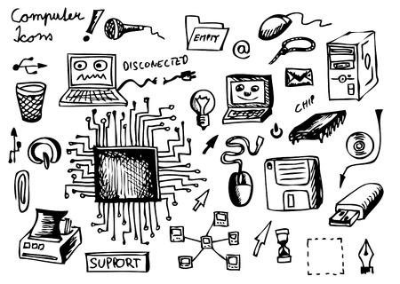 cable de red: iconos de equipo dibujado a mano aisladas sobre fondo blanco Vectores
