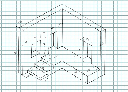 architecture plan for beginners on the school paper Vector