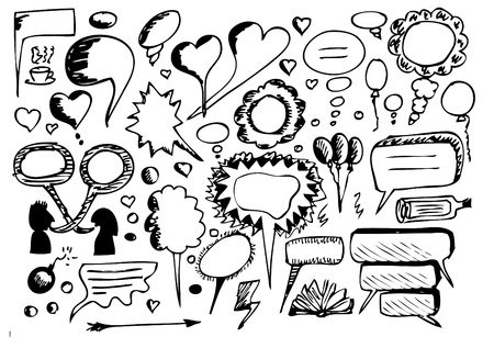 hand drawn dialog icons isolated on the white background Vector