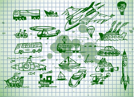 set of transportation vehicles isolated on the old paper Vector