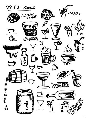 hand drawn drink symbols isolated on the white background Vector