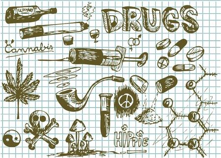 thc: hand drawn drugs symbols on the school paper Illustration