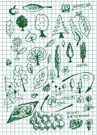 eco  bio and nature symbols on the school paper Vector