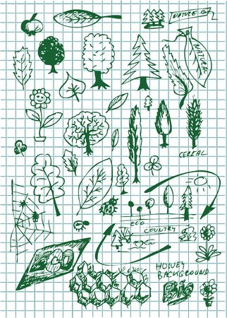 environmentalist label: eco  bio and nature symbols on the school paper Illustration