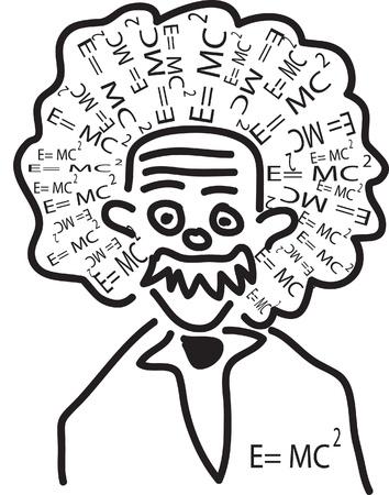 la testa di Einstein con la sua teoria come i capelli Editoriali