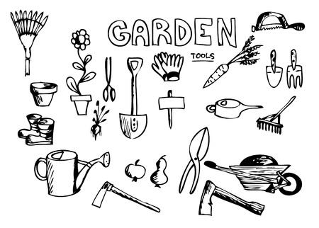 ink pot: mano dibujada herramientas de jard�n aislados sobre el fondo blanco