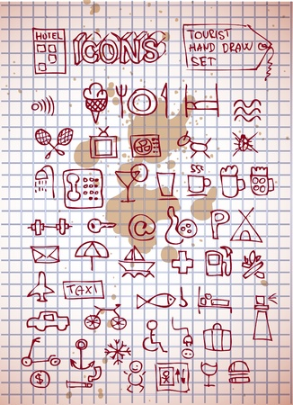 hotel and rerstaurant icons isolated on the old paper Vector