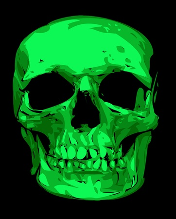 human skull in green color isolated on the black background Vector