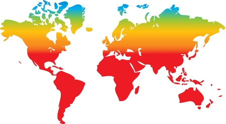 africa continent: world map in rainbow colors as nice geography background