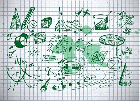 오래 된 종이에 고립 된 수학 및 물리학 상징 일러스트