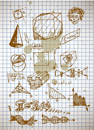 math symbols from high school isolated on the old background Vector