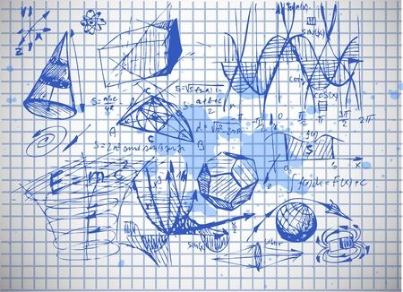 오래 된 종이에 고립 된 수학 및 물리학 상징 스톡 콘텐츠 - 10276990