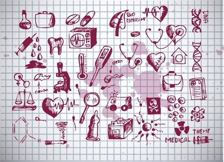healthcare and medical icons isolated on the old background Stock Illustratie