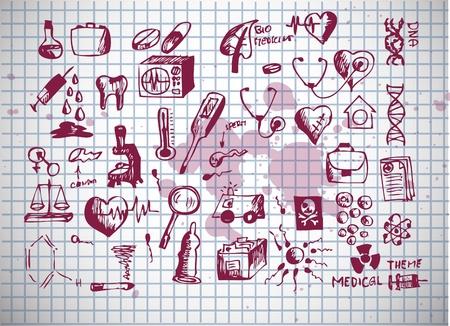 iconos de asistencia sanitarios y médicos aislados en el fondo antiguo Ilustración de vector