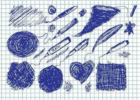 knutsel spullen: set van verschillende tekeningen op de schoolkrant