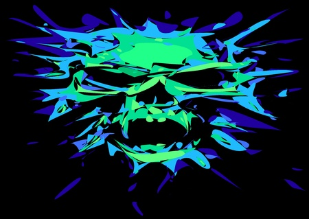 horrific: human skull in green color isolated on the black background
