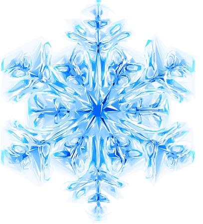 flakes: nice blue snowflake isolated on the white background