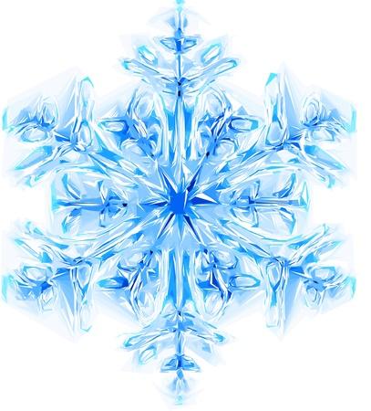 schnee textur: sch�ne blaue Schneeflocke isoliert auf wei�em Hintergrund
