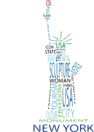 statue of liberty from the words on the white background Stock Vector - 10273350