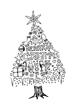 hand drawn christmas tree isolated on the white background Vector