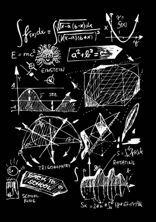 math and geometry isolated on the black board  Vector