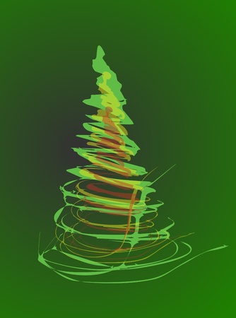easy christmas tree isolated on the white background Vector