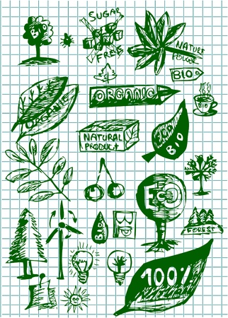 environmentalist label: bio and eco icons isolated on the green paper Illustration