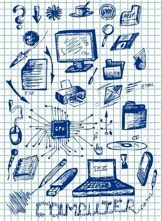 cable de red: iconos dibujados a mano un ordenador en los colores azul Vectores