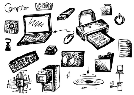 computers icons isolated on the white background Vector