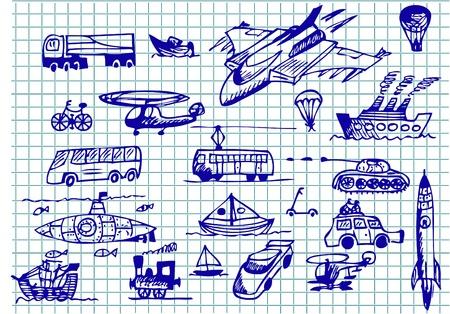 interceptor: different engines for trasportation in blue color  Illustration