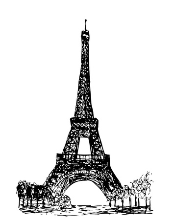eiffel tower isolated on the white background Vector